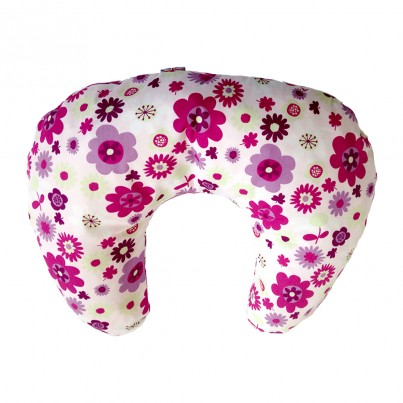 Multi Purpose Nursery & Feeding Cushion - FLOWER POWER design pink & cerise
