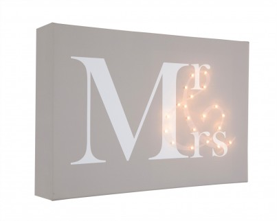 Mr & Mrs - Illuminated Canvas