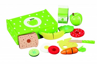 Delightful Apple Lunch Box Of Wooden Food, Fruit, Veg, Bread