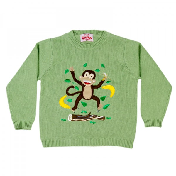 Cheecky Monkey Knitted Jumper By Groovy Kids