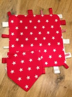Red Comfort Taggie with matching dribble bib