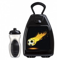 Black lunchbox with football