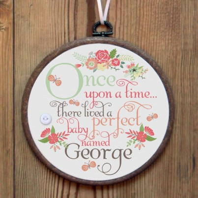 Once Upon a Time personalised embroidery hoop print