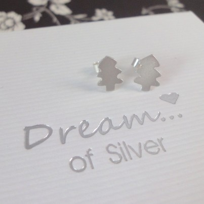 Silver Christmas Tree Stud Earrings