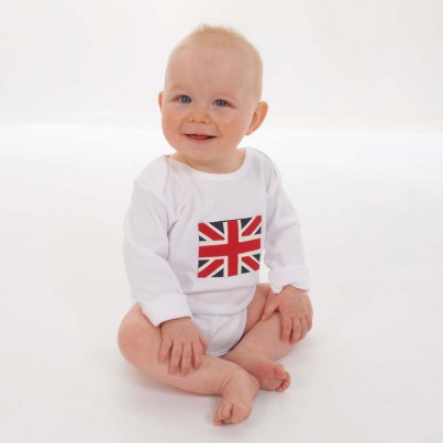 A handsewn Union Jack bodysuit, using blue, red and cream material. The idea behind the design was my son's love of flags and of course the Royal Wedding. We hope the little one enjoys wearing it as much as we have enjoyed making it.