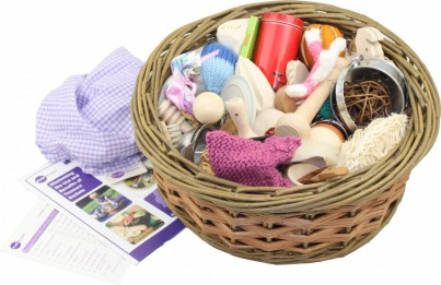 The large Treasure Basket contains 53 carefully selected sensory-rich items each chosen for their sensory appeal, safety and curriculum links.  Includes hand-stitched gingham cover, guidance booklet and contents list.
