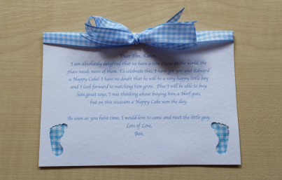 Hand made gift card with the message of your choice
