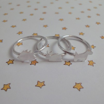 Childrens Silver Animal Ring Set