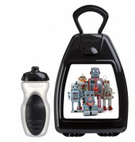Black lunchbox with robots