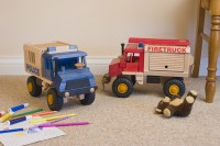 Wooden Fire and Police truck set by Uniwood