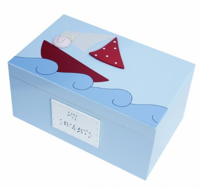 "Boys ""Boat"" Personalised Wooden Keepsake Memory Box.   A very popular boys gift designed by Marie Ekerholm who takes inspiration from her native country Sweden, where simplicity, functionality and style are the essence of Scandinavian design."