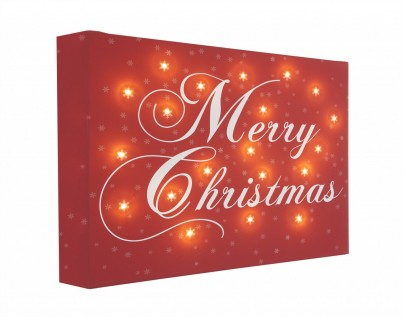 Merry Christmas - Illuminated Canvas Night Light