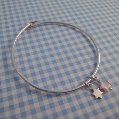 Childrens Tiny Star Bangle in Pink