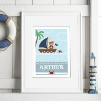 Pirate nautical personalised poster nursery print wall art