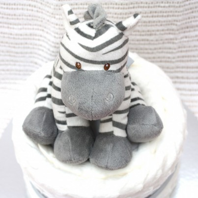 Luxury Zebra Baby Nappy Cake 1 Tier