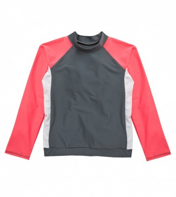 Popstar Pink Solid Long Sleeve Swim Shirt