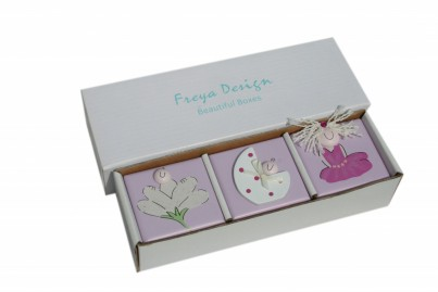Set of 3 boxes: First Tooth, First hair Lock, Birth band