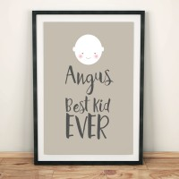 'Best Kid Ever' - personalised word art poster print