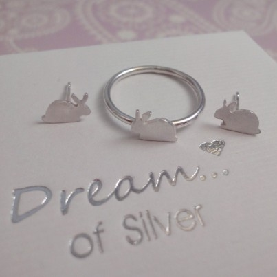 Childrens Silver Rabbit Ring & Stud Earrings Set