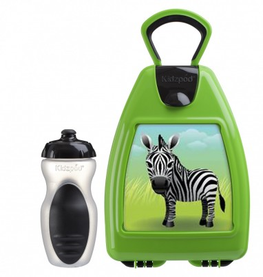 Green lunchbox with zebra