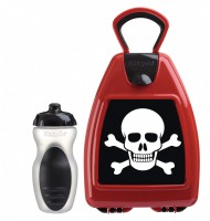 Red lunchbox with pirate skull