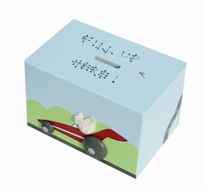 RACING CAR WOODEN MONEY BOX