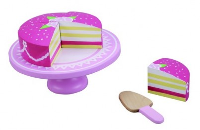 Delicious in Pink - Wooden Princess Cake with Pretty Cake Plate and Cake Slice