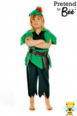 Whether it be Neverland or Lapland this is the Costume for You!   Fly away to Neverland to hang out with the lost boys, Tinks, and that evil Captain Hook!   Suade Tunic Top with Mock Leather Belt and Sheaf. Elasticated 3/4 length Trousers, and felt hat with feather.