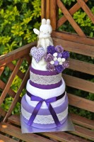Luxury Lavender 3 Tier Nappy Cake - 0-3 or 3-6 months