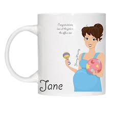 Ceramic mug - Personalised with your own text & pictures. Yummy Mummy to be - brunette