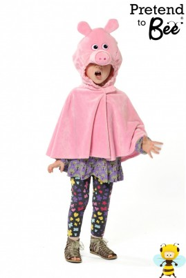 Quick and Easy Dressing Up  Oink Oink Oink!  Velour cape and character hood with velcro fastening.  Great for book week Peppa Pig!