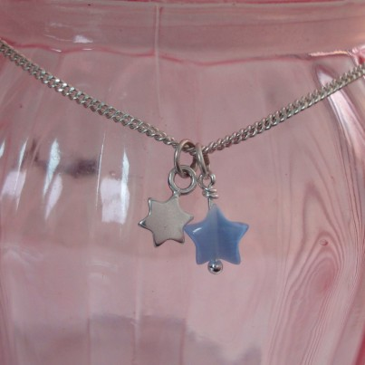 Childrens Tiny Star Necklace in Blue