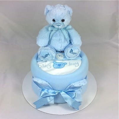 Luxury Baby Boy or Girl Teddy Nappy Cake 1 Tier