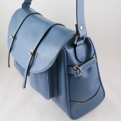 Paris Real Leather Baby Changing Bag (Blue)