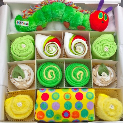Hungry Caterpillar Baby Clothing Cupcake Set in 0-3 or 3-6 months