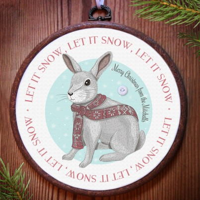 Christmas Rabbit personalised embroidery hoop print