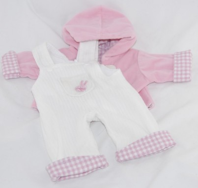 White Velour Dungarees With Pink Hooded Jacket