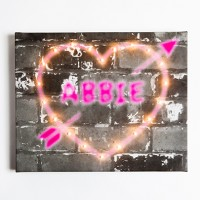 Personalised Graffiti Heart Illuminated Canvas Night Light