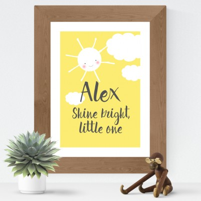 Shine Bright Little One personalised baby word art print