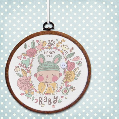 Baby personalised embroidery hoop print