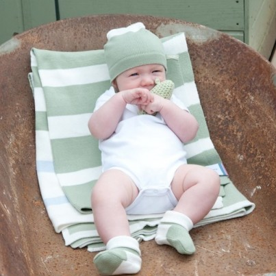 Baby in our Battledown Blanket, Hat and Booties