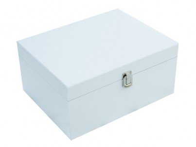 Large White Storage Boxes. This is our largest wooden box we do.  The keepsake boxes are all made from solid wood. We use and European  birch which are all light in weight but robust.  The different types of wood are only sourced from countries where there are strict regulations regarding sustainability.