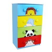 Teamson Sunny Safari 4 Drawer 8 Handle Chest