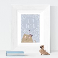Hello Kitten personalised poster nursery print wall art