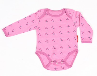 Tilly Pink Flower Long Sleeve Organic vest. Size 0-3 months and 3-6 months