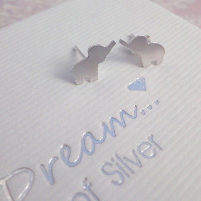 Silver Elephant Stud Earrings