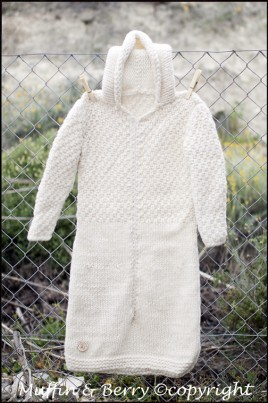 WOOLEN HAND-KNITTED SLEEPING BAG WHITE