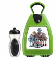 Green lunchbox with robots