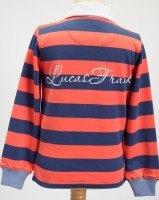 Lennard Island Rugby Shirt - Salmon and Buoy Blue