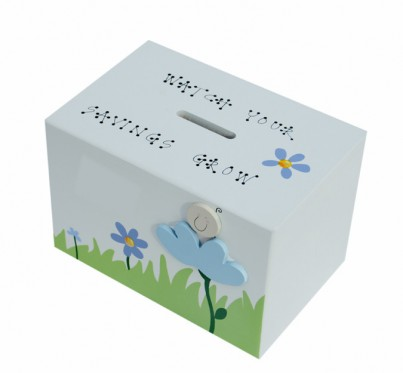 BABY BLUE FLOWER WOODEN MONEY BOX